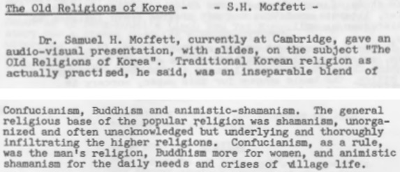 AKSE Conference 1977, Samuel Hugh Moffett, the Old Religions of Korea